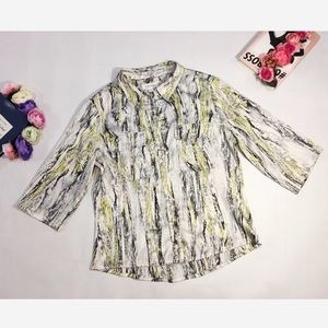 Calvin Klein Blouse Gray Yellow Buttoned Size M